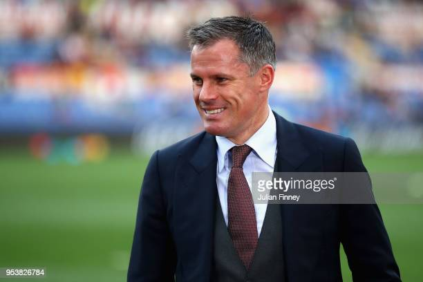 Former Liverpool player Jamie Carragher is pictured prior to the UEFA Champions League Semi Final Second Leg match between AS Roma and Liverpool at...