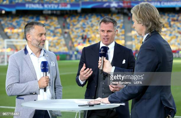 Former Liverpool player Jamie Carragher talks with Guillem Balague prior to the UEFA Champions League Final between Real Madrid and Liverpool at NSC...