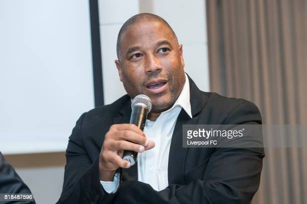 Former Liverpool player John Barnes talks during Liverpool FC's Bootroom in Business at The Upper House on July 18, 2017 in Hong Kong, Hong Kong.