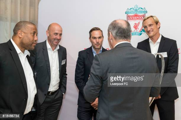 Former Liverpool players John Barnes Gary McAllister Jason McAteer Sami Hyypia chat with guest during Liverpool FC's Bootroom in Business at The...