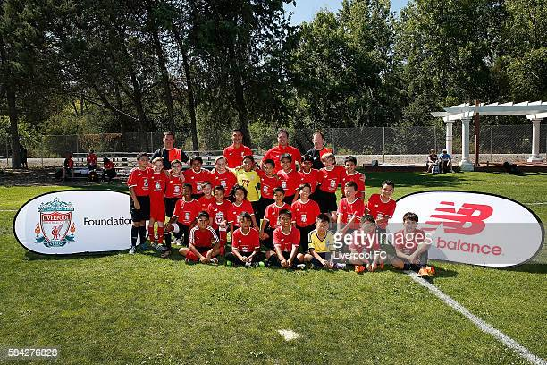 Former Liverpool players Luis Garcia and Robbie Fowler pose for a photo as they host a kids soccer clinic at the AddisonPenzak Jewish Community...