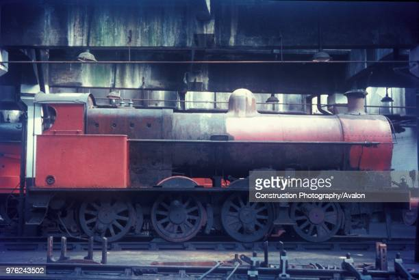 Former LNWR 080 7F No9395 in the roundhouse at Leicester on Sunday 20th April 1969 after preservation