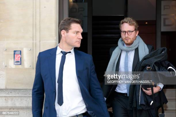 Former lock Ali Williams of New Zealand leaves after appearing before the French National Rugby League disciplinary commission in Paris on April 12...