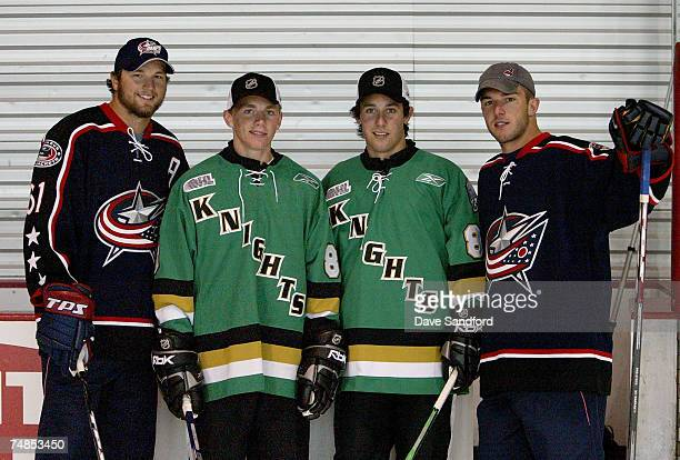 Former London Knights players Rick Nash and Dan Fritsche of the Columbus Blue Jackets pose with current London Knights and NHL prospects Patrick Kane...