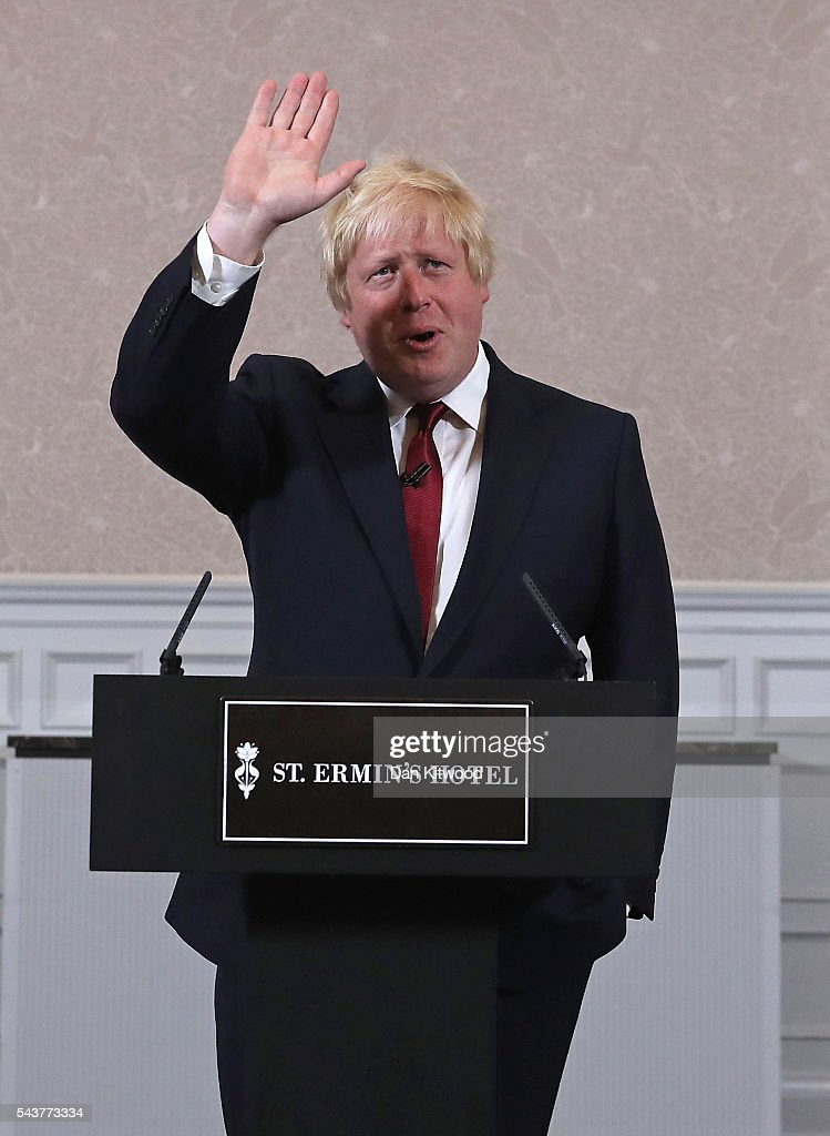 Former London Mayor and Conservative MP Boris Johnson waves as he gives a speech and announces he will not run for Conservative party leader at St Ermin's Hotel on June 30, 2016 in London, England. Nominations for MP's to declare their intention to run for the Conservative Party Leadership and therefore British Prime Minister will close by noon today. The current Prime Minister and party leader, David Cameron, announced his resignation the day after the UK voted to leave the European Union.