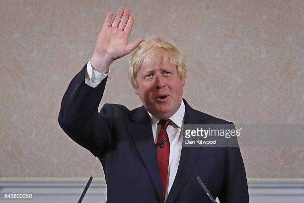 Former London Mayor and Conservative MP Boris Johnson waves as he speaks ruling himself out of becoming the next Conservative party leader at St...