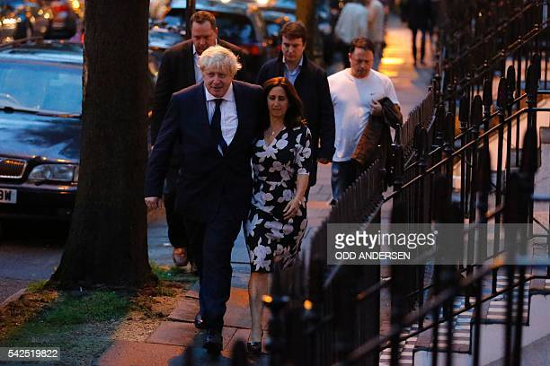 Former London Mayor and Vote Leave campaigner Boris Johnson and his wife Marina Wheeler arrive at a polling station in north London on June 23 as he...