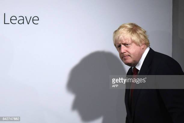 TOPSHOT Former London Mayor and Vote Leave campaigner Boris Johnson attends a press conference in central London on June 24 2016 Boris Johnson who...