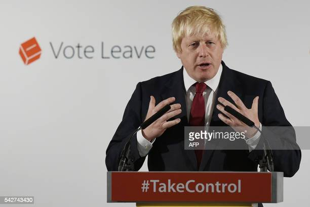 """Former London Mayor and """"Vote Leave"""" campaigner Boris Johnson speaks during a press conference in central London on June 24, 2016. - Boris Johnson,..."""