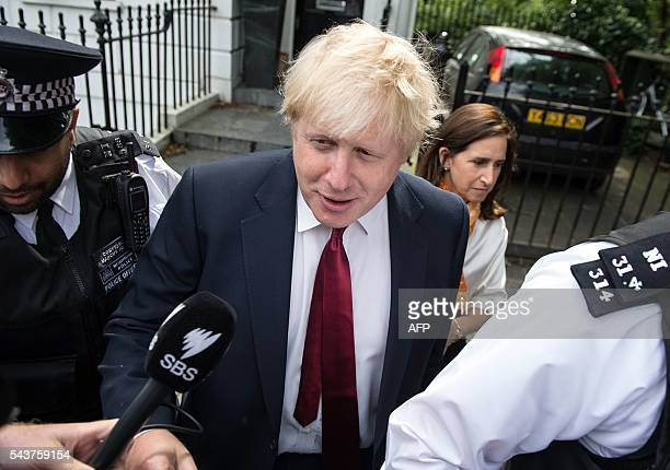 Former London Mayor Boris Johnson and his wife Marina are pictured as they leave their home in London on June 30 2016 Brexit campaigner Michael Gove...