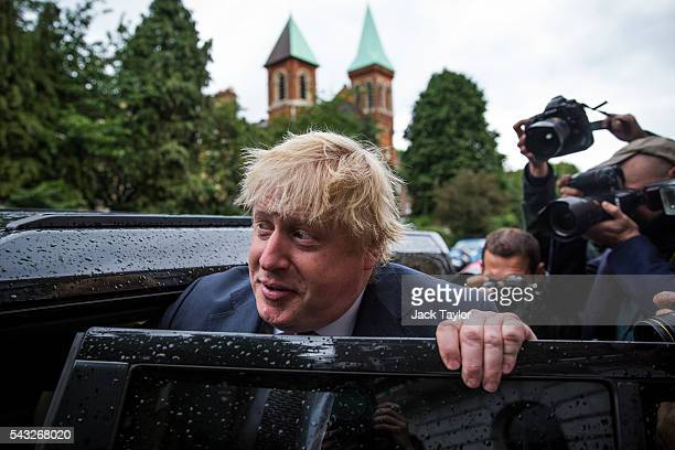 Former London Mayor Boris Johnson leaves his home by car on June 27 2016 in London England Mr Johnson is thought to be the frontrunner to succeed...