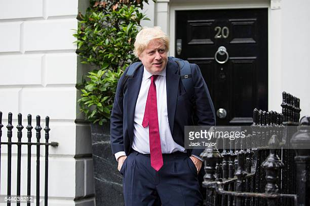 Former London Mayor Boris Johnson leaves his Islington home on July 1 2016 in London England Mr Johnson backed out of the Conservative Leadership...