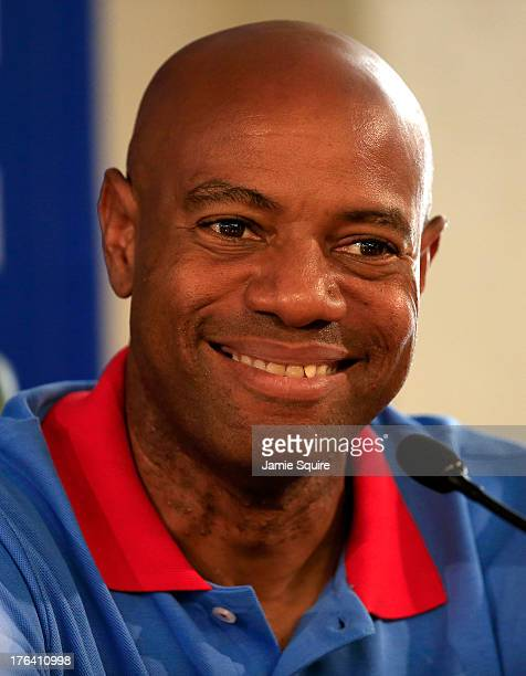 Former Long Jump World Champion Mike Powell of United States attendS the IAAF Ambassador Programme Press Conference during Day Three of the 14th IAAF...