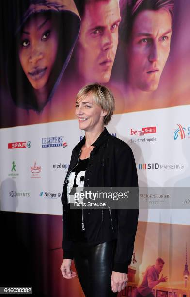 Former long jumper Heike Drechsler pose on the red carpet prior to the Berlin 2018 European Athletics Championships Video Premiere at Zoo Palast on...
