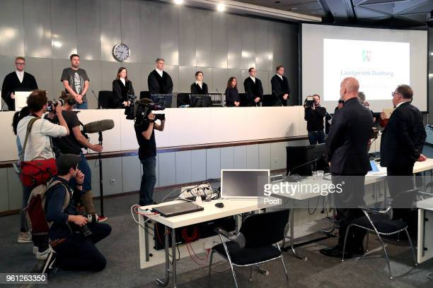 Former Lopavent CEO Rainer Schaller stands as he attends his hearing of the Love Parade trial at the CCDEast on May 22 2018 in Dusseldorf Germany On...