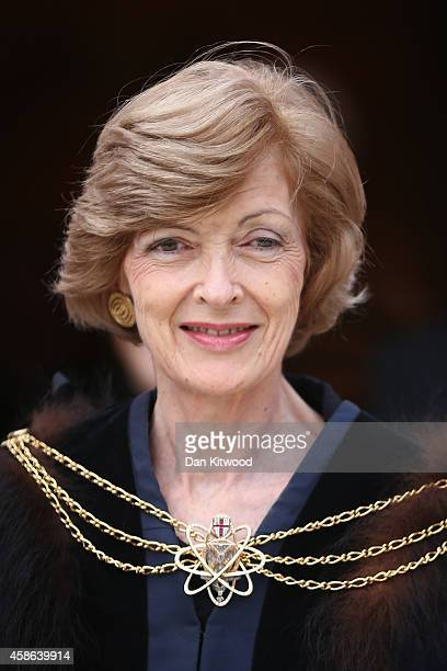Former Lord Mayor of London Fiona Woolf leaves the Guildhall after The Silent Ceremony at The Guildhall on November 7 2014 in London England The Lord...