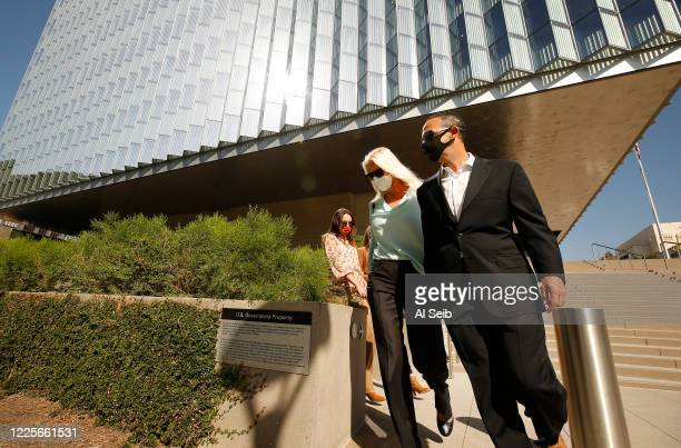 Former Los Angeles City Councilman Mitchell Englander departs Los Angeles federal courthouse in downtown LA Tuesday with his wife Jayne and daughters...