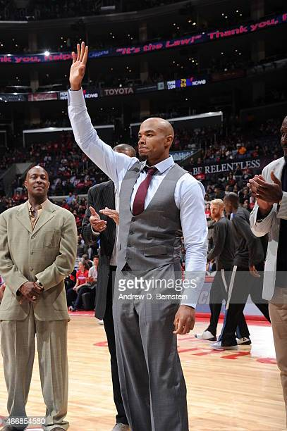 Former Los Angeles Clippers Corey Maggette gets introduced during Ralph Lawler night at halftime between the Minnesota Timberwolves and Los Angeles...