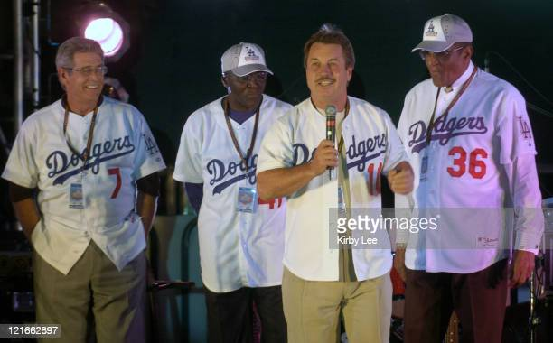 Former Los Angeles Dodger Ron Cey speaks at 'Rally Monday' at The Grove in Los Angeles Calif on Monday Oct 4 2004 Cey is flanked by Steve Yeager Lou...