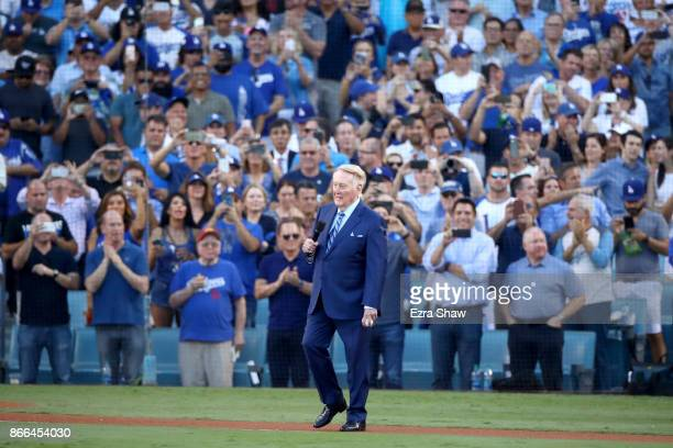 Former Los Angeles Dodgers broadcaster Vin Scully addresses fans before game two of the 2017 World Series between the Houston Astros and the Los...
