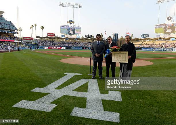 Former Los Angeles Dodgers pitcher Hideo Nomo former Dodgers Owner and President Peter O'Malley Harry H Horinouchi consul general of Japan in Los...