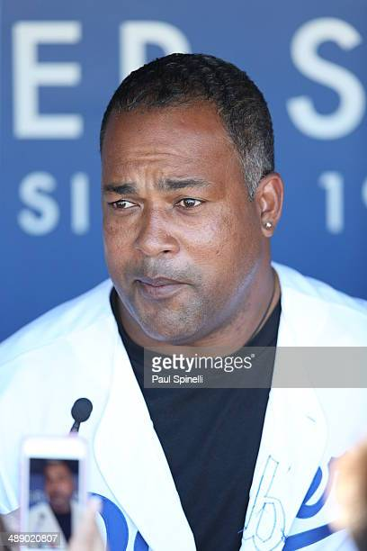 Former Los Angeles Dodgers player Raul Mondesi talks to the media before the game between the Los Angeles Dodgers and the San Francisco Giants at...