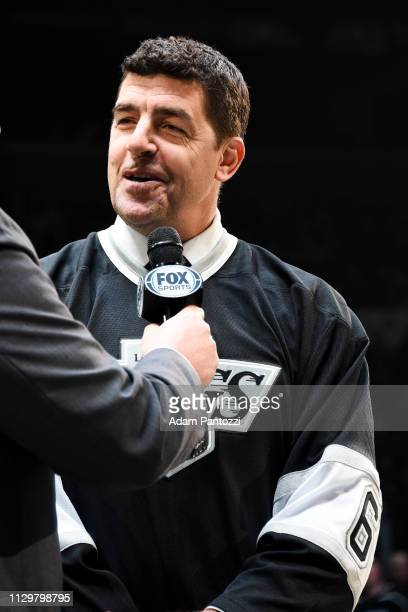 Former Los Angeles Kings defenseman Sean O'Donnell is interviewed during the Kings' Legends Night Series before the game against the Vancouver...