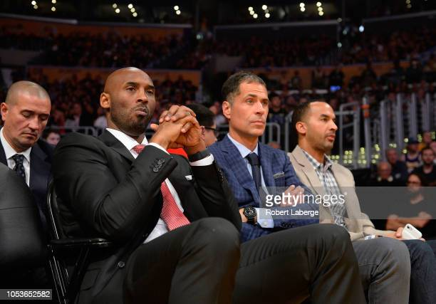 Former Los Angeles Lakers great Kobe Bryant looks on during the NBA game between the Denver Nuggets and the Los Angeles Lakers at Staples Center on...
