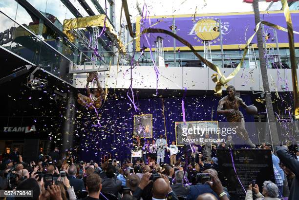 Former Los Angeles Lakers player Shaquille O'Neal as his statue is unveiled at Staples Center March 24 in Los Angeles California NOTE TO USER User...
