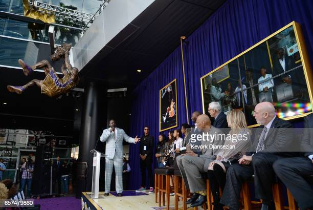Former Los Angeles Lakers player Shaquille O'Neal speaks after unveiling of his statue at Staples Center March 24 in Los Angeles California NOTE TO...