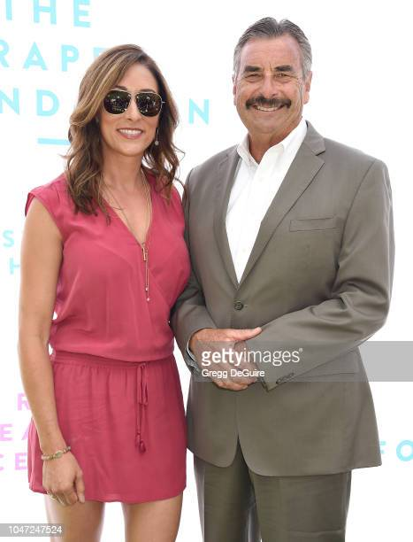 Former Los Angeles Police Chief Charlie Beck and daughter Brandi Pearson arrive at The Rape Foundation's Annual Brunch on October 7 2018 in Beverly...