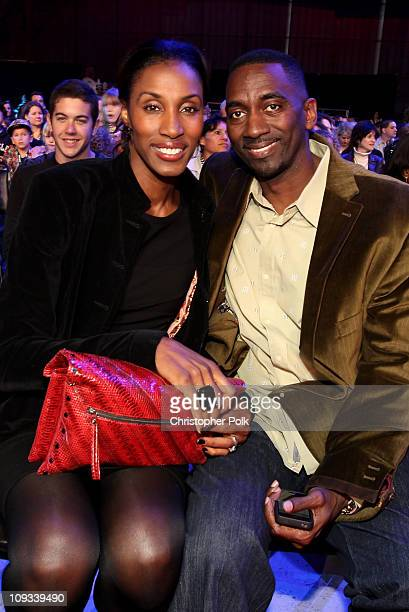 Former Los Angeles Sparks player Lisa Leslie and huband Michael Lockwood attend the Cartoon Network Hall of Game Awards held at The Barker Hanger on...