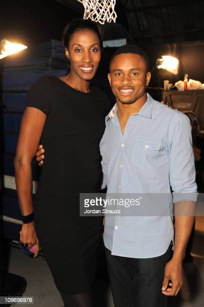 Former Los Angeles Sparks Player Lisa Leslie And Professional Football Player Nnamdi Asomugha Attend Cartoon Network