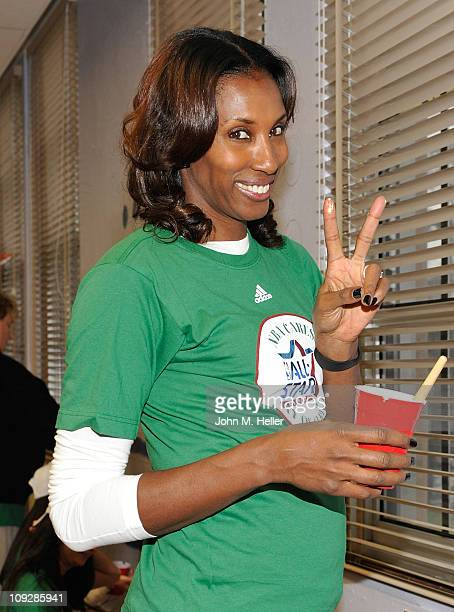 Former Los Angeles Sparks WNBA player Lisa Leslie attends the NBA Cares AllStar Day of Service with City Year at Virgil Middle School on February 18...