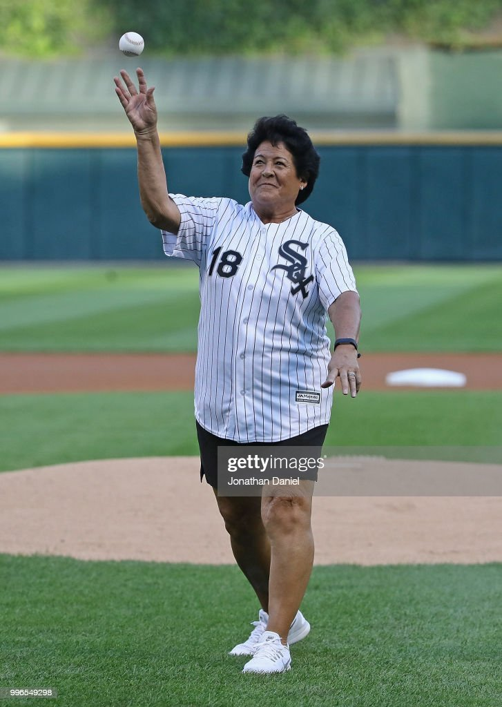 Former LPGA golfer Nancy Lopez throws a ceremonial first pitch before the Chicago White Sox take on the St. Louis Cardinals at Guaranteed Rate Field on July 11, 2018 in Chicago, Illinois.