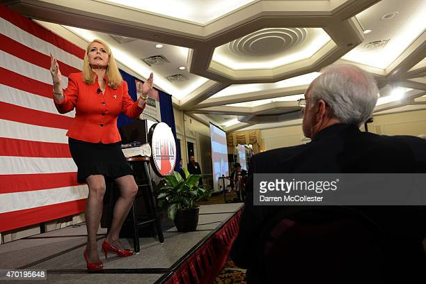Former Lt Gov Betsy McCaughey speaks at the First in the Nation Republican Leadership Summit April 18 2015 in Nashua New Hampshire The Summit brought...