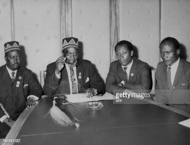 former Luo Chief Oginga Odinga futur Kenyan President Jomo Kenyatta Njoroge Mungai and Ramogi Achieng Oneko give a press conference December 07 1963...
