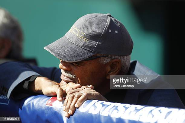 Former Major League Baseball and San Francisco Giants player Felipe Alou of the San Francisco Giants watches batting practice before Game 4 of the...