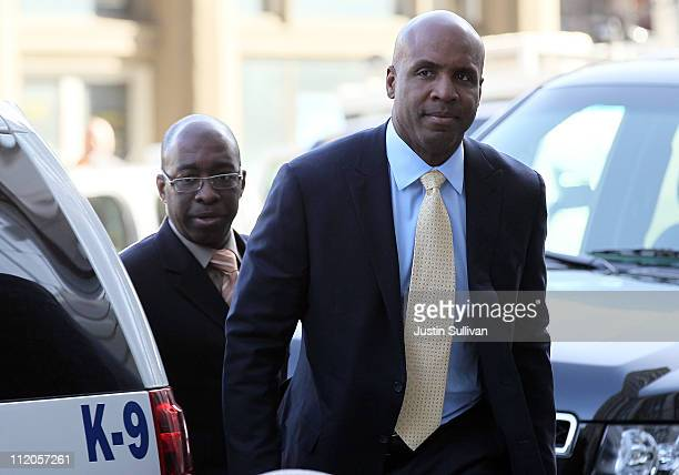 Former Major League Baseball player Barry Bonds arrives at federal court on April 12 2011 in San Francisco California The jury is deliberating for...