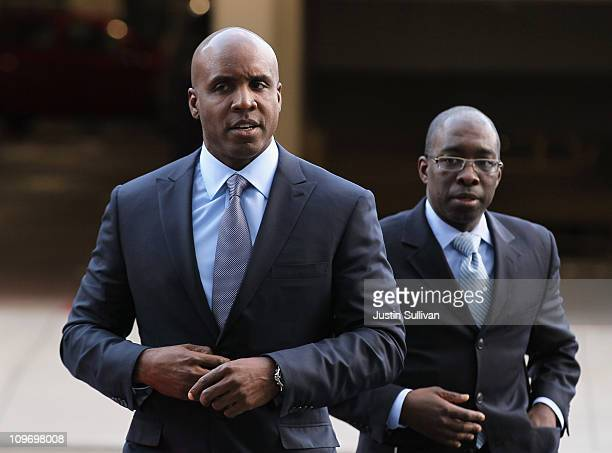 Former Major League Baseball player Barry Bonds arrives for an arraignment hearing on March 1 2011 in San Francisco California Barry Bonds and his...