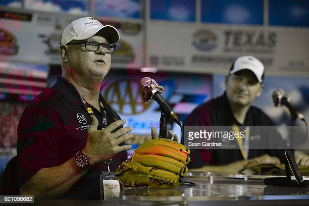 Former Major League Baseball player Jim Morris and Michael McDowell driver of the Thrivent Financial Chevrolet speak to the media during a press...