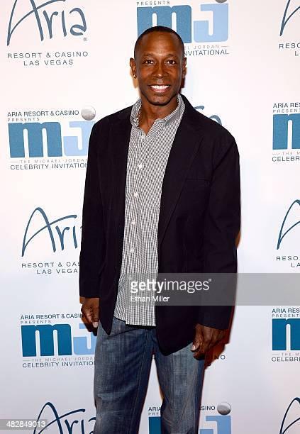Former Major League Baseball player Kenny Lofton arrives at the 13th annual Michael Jordan Celebrity Invitational gala at the ARIA Resort Casino at...