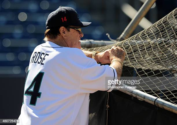 Former Major League Baseball player Pete Rose looks on during batting practice prior to managing the game for the Bridgeport Bluefish against the...
