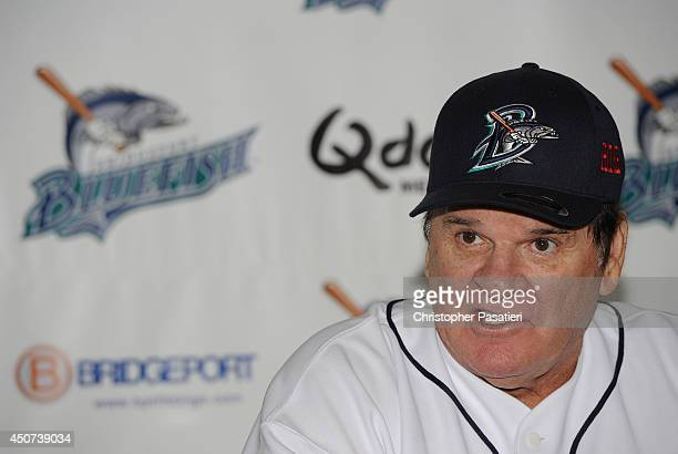 Former Major League Baseball player Pete Rose speaks at a post game press conference after managing the game for the Bridgeport Bluefish against the...