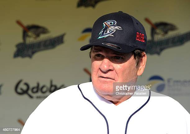 Former Major League Baseball player Pete Rose speaks at a press conference prior to managing the game for the Bridgeport Bluefish against the...