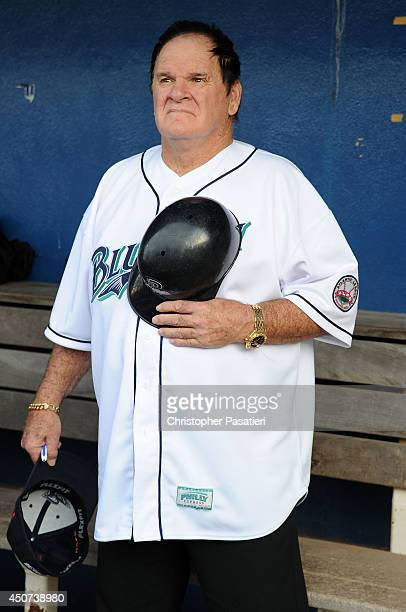 Former Major League Baseball player Pete Rose stands for the National Anthem in the dugout prior to managing the game for the Bridgeport Bluefish...