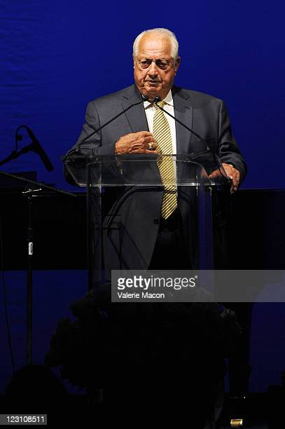 Former Major League baseball player Tommy Lasorda speaks during the Anniversary LA Police Protective League's Eagle & Badge Foundation Gala on August...