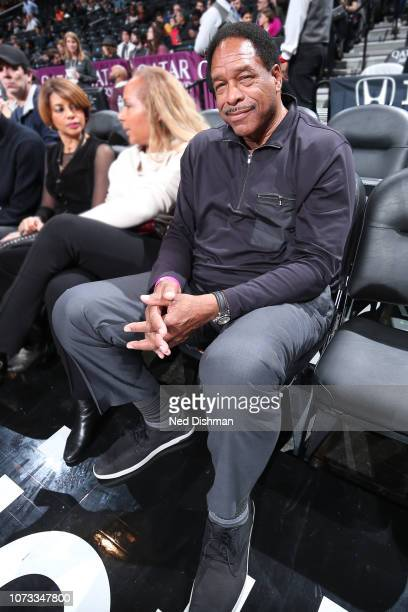 Former Major League Baseball right fielder Dave Winfield makes an appearance during the game as Washington Wizards play against Brooklyn Nets on...