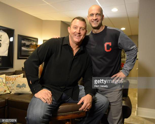 Former Major League player Jim Thome poses for a photo with long time Cleveland Indians Director of Media Relations Bart Swain after Thome received a...