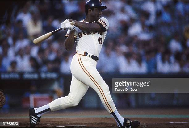 Former Major League player Warren Cromartie of the Yomiuri Giants swings during a game in Tokyo, Japan, circa 1990's.